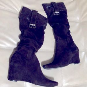 LASCO Suede Wedge Boots, brown/burgundy size 40